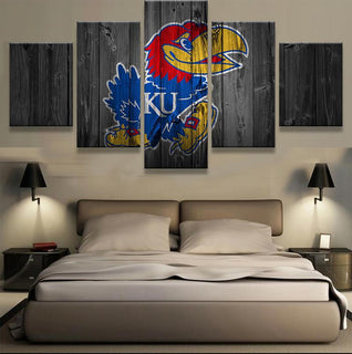 5 Piece Kansas Jayhawks Team Basketball Canvas Painting Wall Art - It Make Your Day