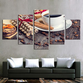 Framed 5 Piece Coffee And Dessert Canvas - It Make Your Day