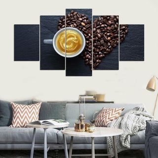 Framed 5 Piece Coffee Collection - Love Canvas - It Make Your Day