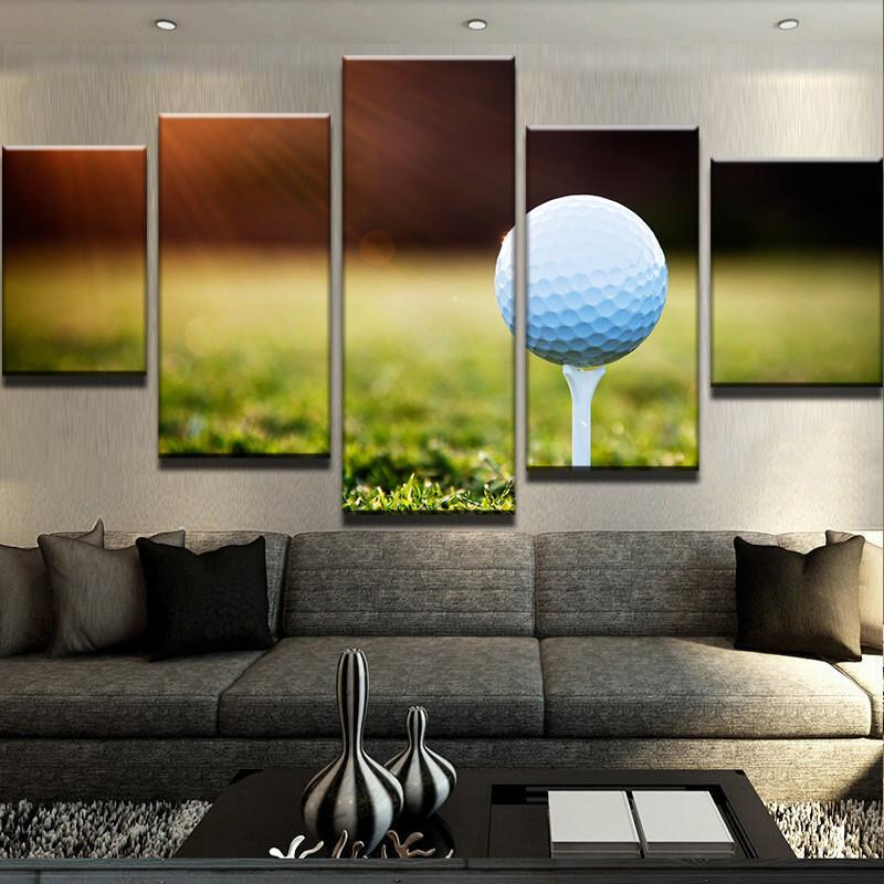 5 Piece Golf Sunset Print Canvas Wall Art Paintings - It Make Your Day