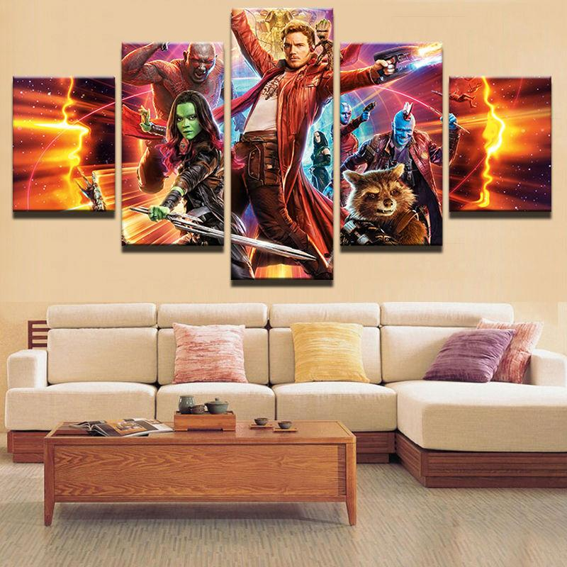 5 Piece Guardians Of The Galaxy Movie Canvas Painting Wall Art - It Make Your Day