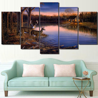 5 Pieces Deer Lake Landscape Sunset Canvas - It Make Your Day