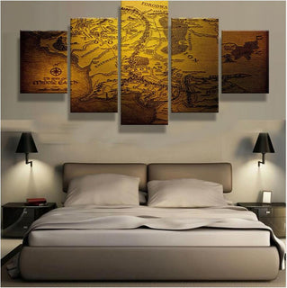 5 Piece Map Of Middle Earth Canvas Wall Art Paintings - It Make Your Day