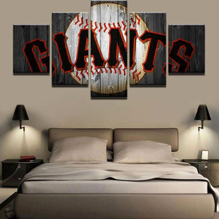 5 Piece SF Giants Team Baseball Canvas Painting Frames - It Make Your Day