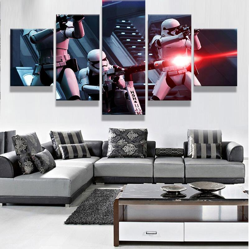 5 Piece Star Wars Stormtrooper fight Movie Canvas Painting Wall Art - It Make Your Day