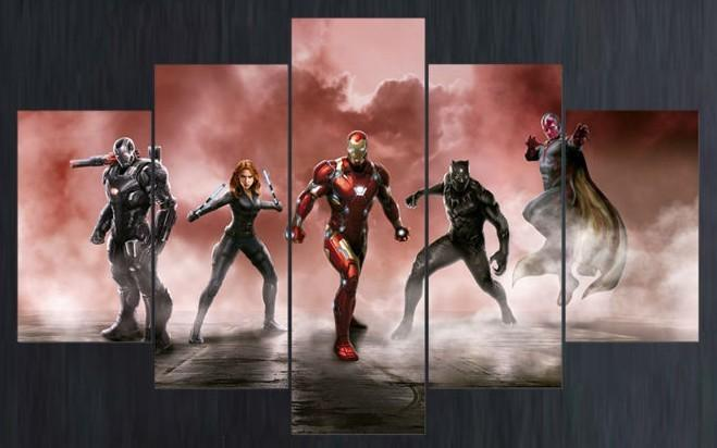 5 Piece Superhero Characters Movie Canvas Painting Wall Art - It Make Your Day