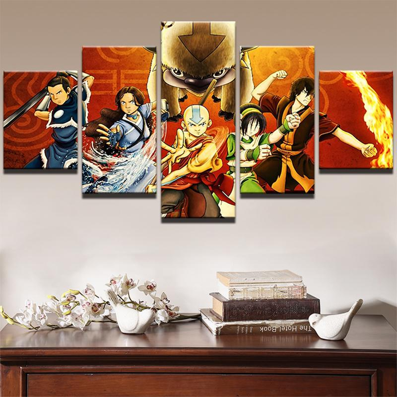5 Piece The last Airbender Movie Canvas Painting Wall Art - It Make Your Day