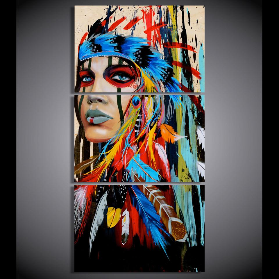 3 Pieces Native American Girl Feathered Women Canvas Paintings Wall Art - It Make Your Day