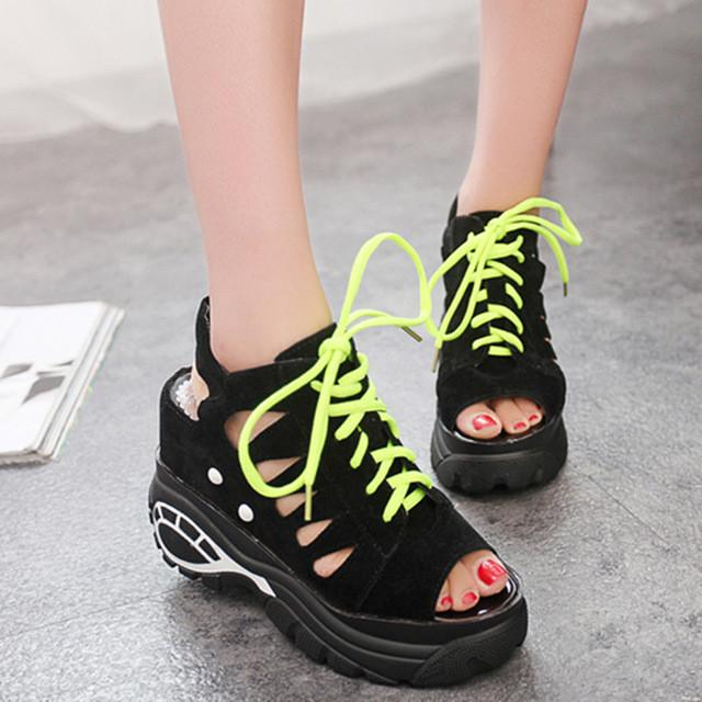 Women's Leisure Platform Sandals Cutout Thick Heels Wedges Summer open toe - DealsBlast.com