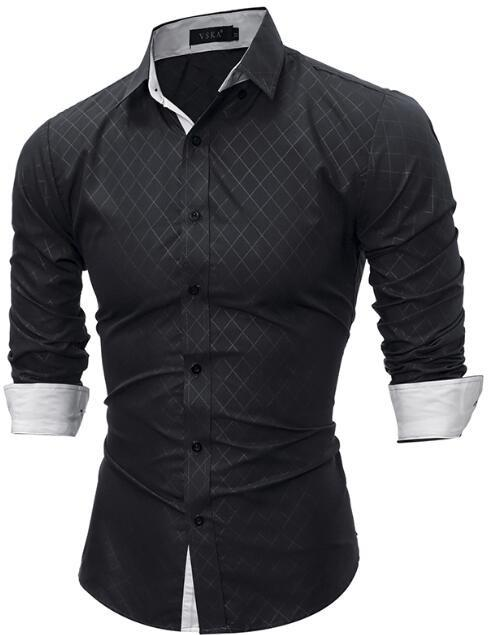 Autumn New Casual Fashion Brand Business Shirt Long Sleeve Men'S Shirts Slim Fit Grid Dress Shirt Men Clothing Size M-XXL Q - DealsBlast.com