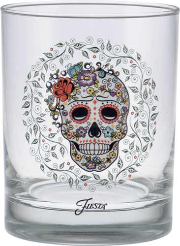 14 oz. Fiesta®SKULL AND VINE Sugar Double Old Fashion Glass - Set of 4