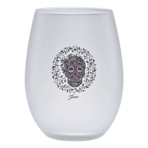 15 oz. Fiesta® SKULL AND VINE Frosted Stemless Wine – Set of 4
