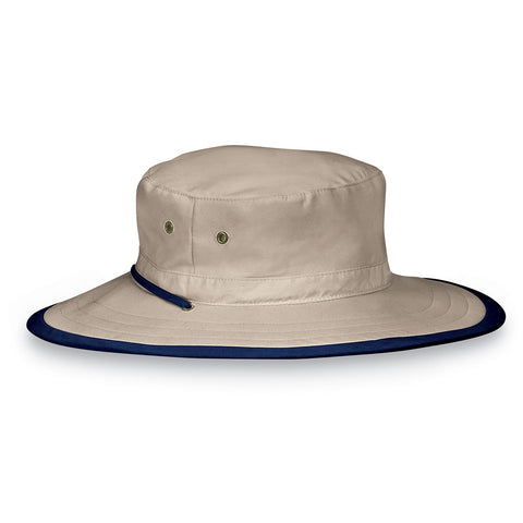 Explorer-Camel/Navy__The explorer hat is great for the outdoors with UPF 50+ as well as an adjustable chin strap for security.