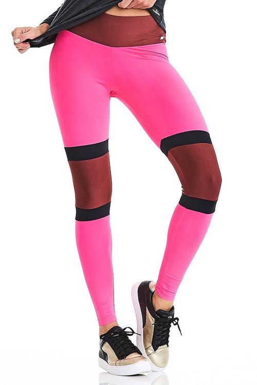 CajuBrasil USA Luxury Upscale Fitness Leggings ROCK SURF - Pink 9030