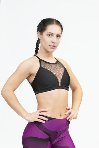 Sports Bra Top MACRAMÊ - Black