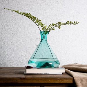 Casamotion Recycle Green Cubic Triangle Glass Flower Vase with Handle for Table Decoration