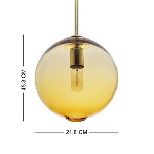 Pendant Lighting Handblown Casamotion Glass Drop ceiling lights, Contemporary Globe Hanging Light, Amber