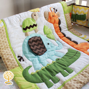 Jungle Theme - 100% Cotton Colorful Super Soft Baby Quilt / Babysheet