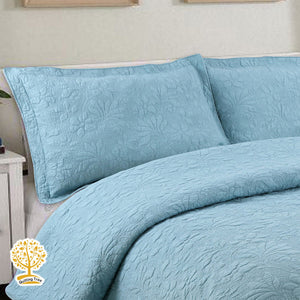 Blue Embroidery Quilted Bedspread & Pillowcase Set