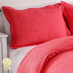 Red Embroidery Quilted Bedspread/ Blanket & Pillowcases