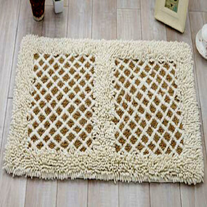 Chenille White and Brown color Door Mat