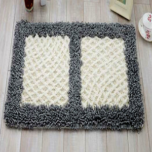 Chenille White and Grey Door Mat