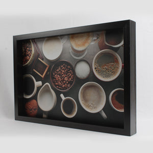Dark Brown Coffee Beans and Cups Serving Tray