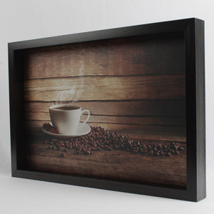 Dark Brown Coffee Cup with Spilled Beans Themed Serving Tray