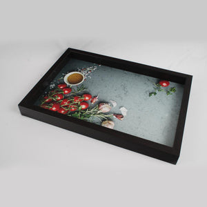 Dark Brown Round Chillies and Garlic Pods Serving Tray