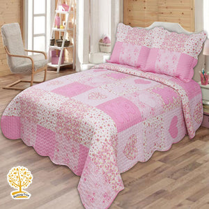 Kids Cute Pink Color Patchwork Quilted Bedspread/ Blanket & Pillowcase Set