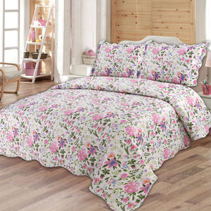 Quilting Tree : Floral Print Quilted Bedspread Blanket and Pillowcase Set Queen Size