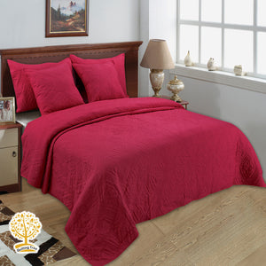 Red Color Embroidery Quilted Bedspread/ Blanket With Pillow Cover & Cushion Set