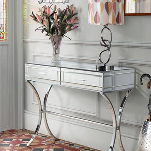 Mirrored Console with Chrome Legs
