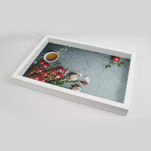 White Round Chillies and Garlic Pods Themed Serving Tray