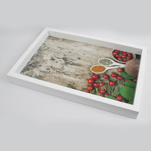 White Round Chillies and Spices themed Serving Tray