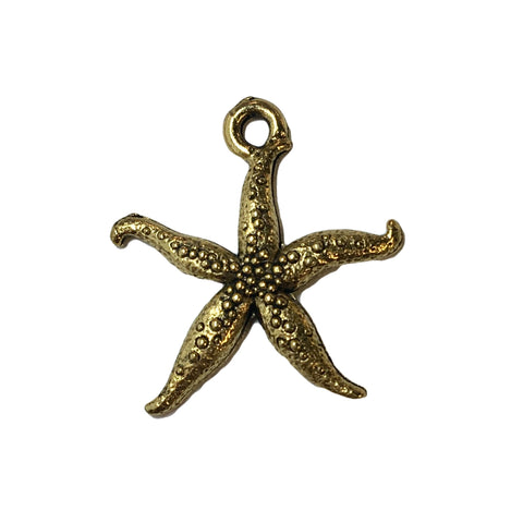 Thin Starfish Charms - Qty 5 - 24kt Gold Plated Lead Free Pewter - American Made