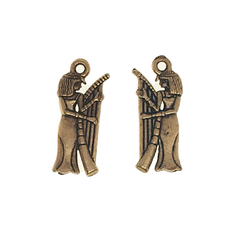 Egyptian Musician Charms - Qty of 5 - 24kt Gold Plated Lead Free Plated Pewter - American Made