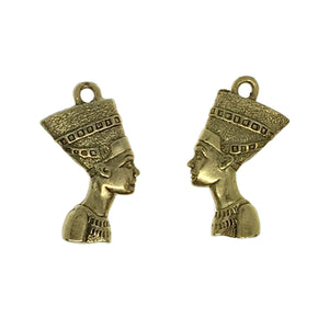Nefertiti Charms - Qty of 5 Charms - 24kt Gold Plated Lead Free Pewter - American Made