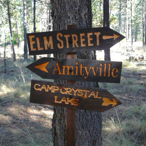 Halloween Lawn Ornament Directional Sign - Amityville Camp Crystal Lake - Carved Cedar Wood