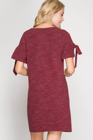 She + Sky Cold Shoulder Tie Knot Dress