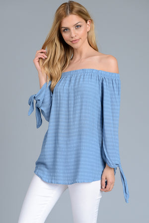 True Blue Off the Shoulder Blouse $36