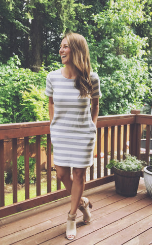 Nautical Pocketed Striped Dress