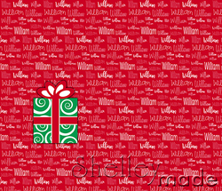 Christmas Santa Sack Panel - Typographic Red