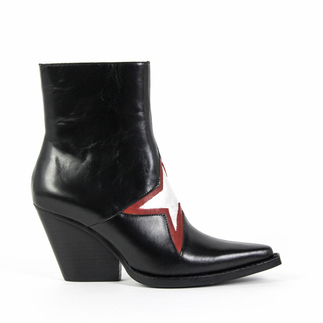 Shine like a star in the Jeffrey Campbell Gazer Western Boot in black calf leather, and bold silver / red star, all on a sharp pointed toe and stacked Cuban block heel. Rock these statement booties on a night out. Free Shipping Australia Wide Over $150. Shop Now Pay Later Afterpay & ZipPay.