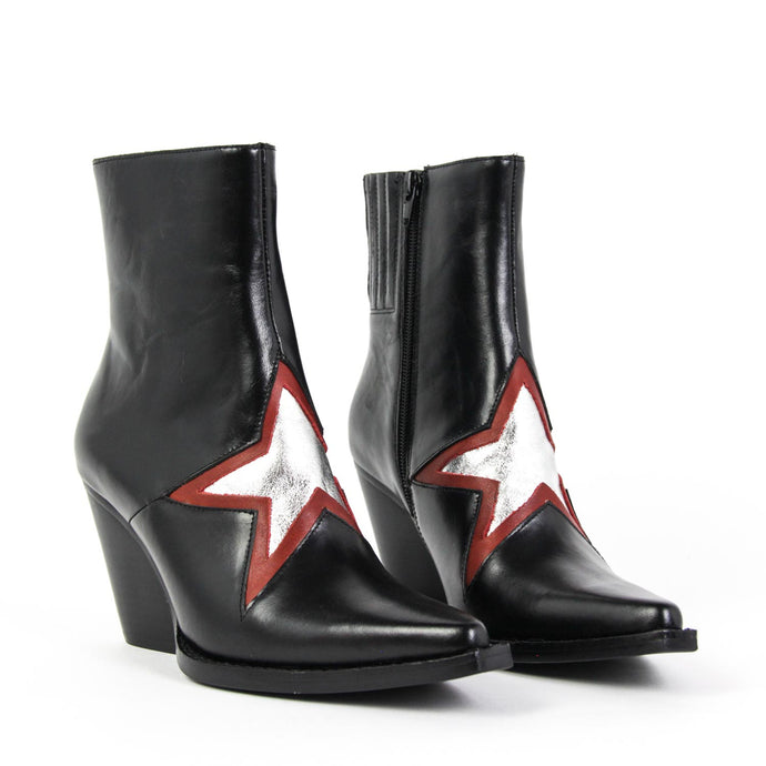 JEFFREY CAMPBELL Gazer Star Western Boot Black / Red / Silver.