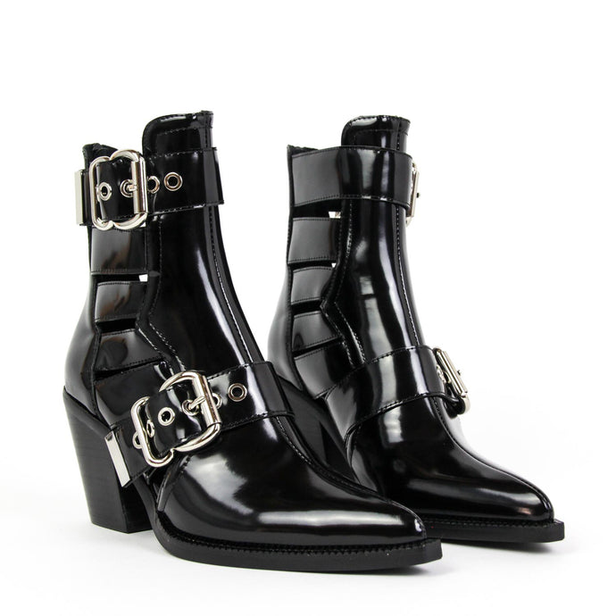 JEFFREY CAMPBELL Guadalupe Cutout Buckle Bootie Black Shine.