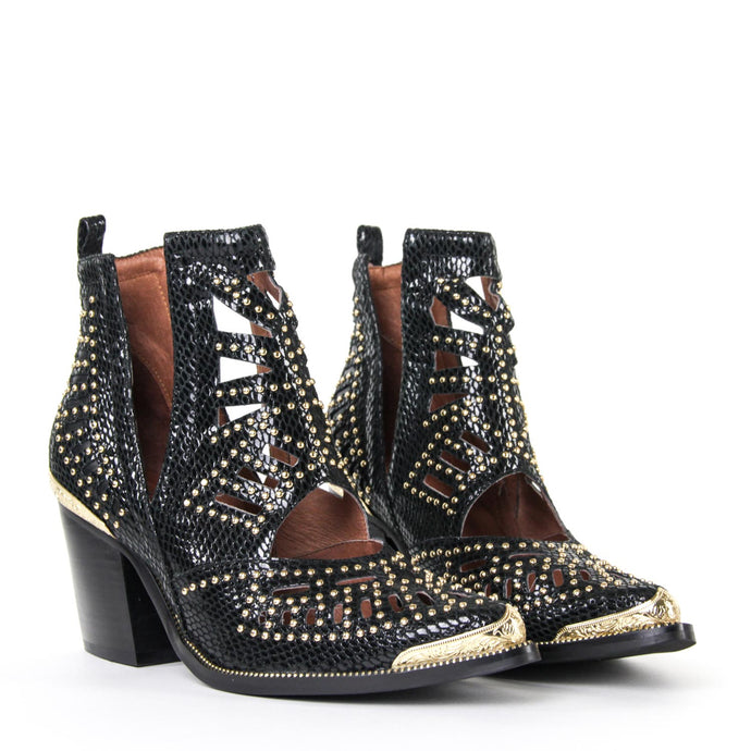 JEFFREY CAMPBELL Maceo Studded Cut-Out Bootie Black Snake.