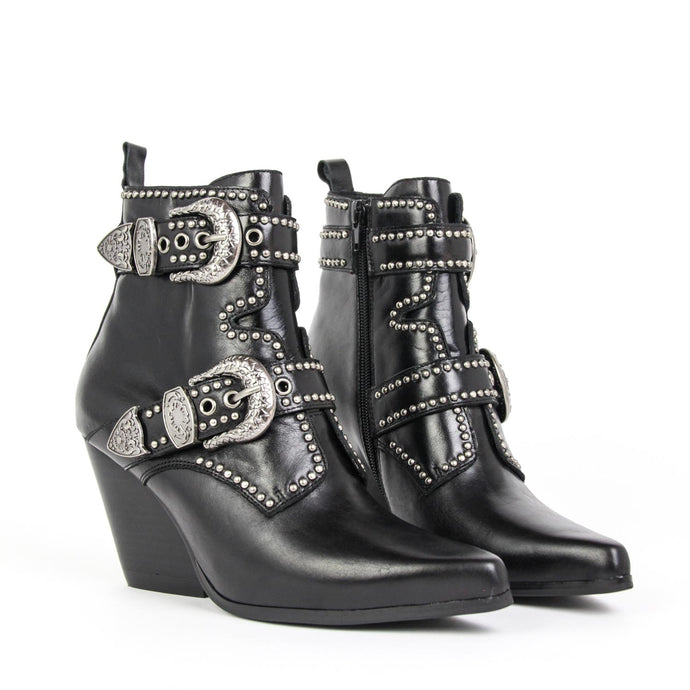 JEFFREY CAMPBELL Welton Western Boot Black Calf Leather.