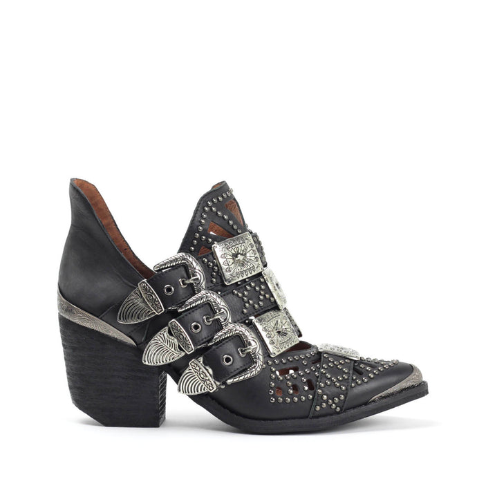 JEFFREY CAMPBELL Wycliff-2 Studded Buckle Bootie Black Leather.