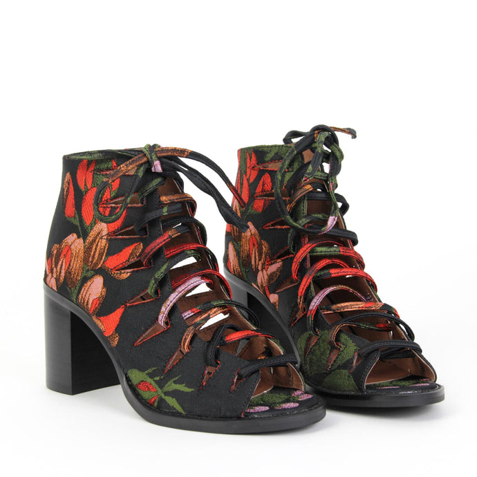 CORWIN Lace Up Heel Floral Brocade